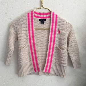 Polo Ralph Lauren 2T cream pink knit logo cardigan
